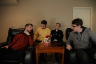 (L to R) Erik Zych, Nick Zych, Hayden Zych and Jared Winzer relax between takes