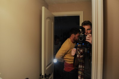 Director Brock Zych takes a selfie as Nick and Hayden prepare for the next scene